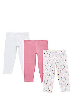F&F 3 Pack of Flamingo Print and Plain Cropped Leggings - Multi