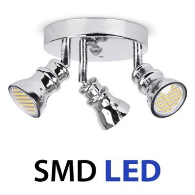 Round 3 Way LED Ceiling Spotlight, Chrome