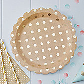 Pick & Mix Kraft Metallic Polka Dot Plates - 23cm Paper Party Plates