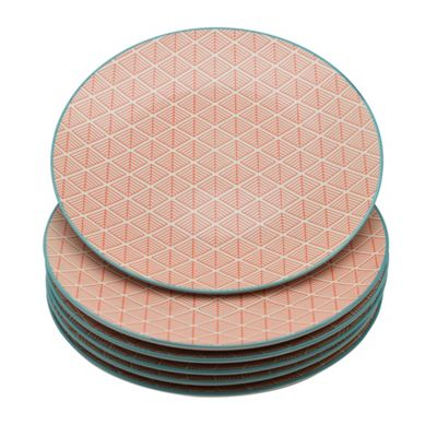 Geometric Design Patterned Dinner Plate - 265mm (10.5 Inches) - Coral / Orange - Box of 6