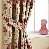 Homescapes Cream Curtains Tie Backs Pair Floral Tapestry Design