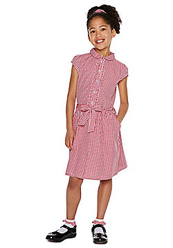 F&F School Cotton Gingham Dress with Scrunchie - Red