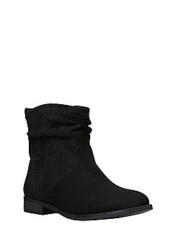 F&F Faux Suede Slouch Ankle Boots - Black