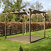 Garden Pergola and Decking Kit - 2.4m x 2.4m - Sculpted Rafter End