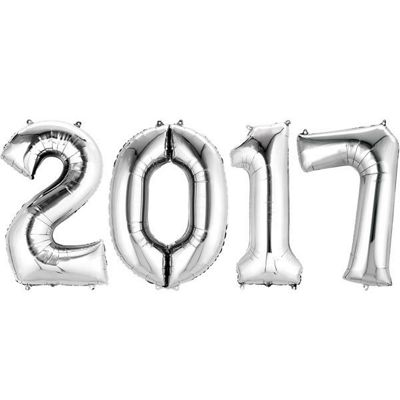2017 Silver Foil Numbers Balloons - 34 inch