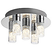 Modern and Unique LED Bathroom Ceiling Light with Crystal Filled Glass Shades