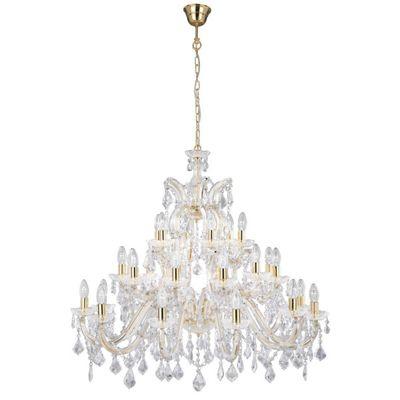 Crystal Chandelier 30 Light Ceiling Light - Polished Brass Frame