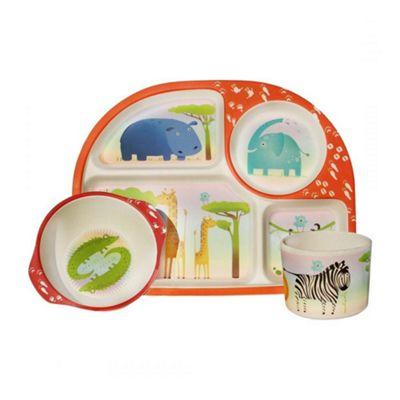 Bamboo Fibre Children's Dining Set, Biodegradable Material, Dishwasher-Safe, Set of 3