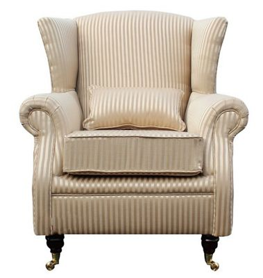 Wing Chair Fireside High Back Armchair Gino Gold Stripe Fabric