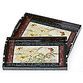 2 Piece Traditional White Carnation Wooden Serving Trays with Handles