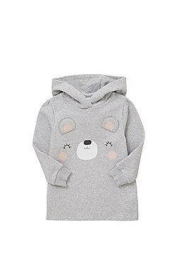 F&F Bear Print Hooded Sweat Dress - Grey