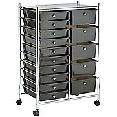 VonHaus 15 Drawer Black Mobile Storage Trolley