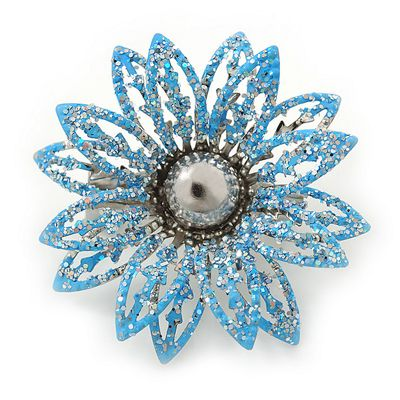 Small 3D Glittering Light Blue Flower Brooch In Silver Tone - 30mm Diameter