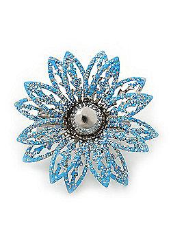 Small 3D Glittering Light Blue Flower Brooch In Silver Tone - 30mm Diameter