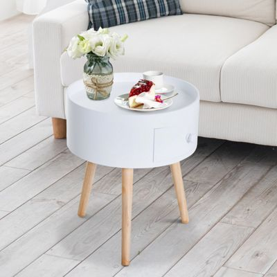 Homcom Modern Round Coffee Table Wooden Side Living Room Wood Leg White