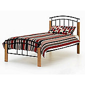 Tetras Black Bed Frame with Beech Posts Sprung Slatted Base 3FT Single