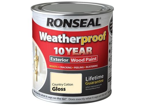 Ronseal RSLWPCCG750 750 ml Exterior Wood Paint Country Cotton Gloss