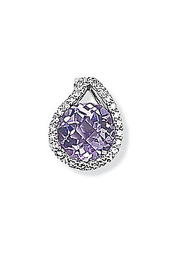 Jewelco London 9ct White Gold - Diamond & Amethyst - Charm Pendant -