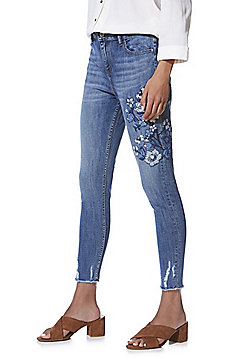 F&F Chewed Hem Embroidered Mid Rise Skinny Jeans - Mid wash