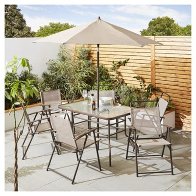 tesco hawaii metal garden furniture 8 piece set cappuccino - Garden Furniture Metal