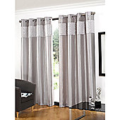 Hamilton McBride Glitz Lined Eyelet Silver Curtains - 90x90 Inches (229x229cm)