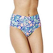 South Beach Paisley Print High Waisted Bikini Briefs - Multi