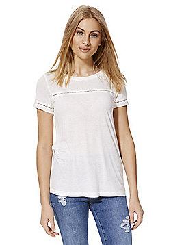 Jacqueline De Yong Ladder Insert T-Shirt - Cream
