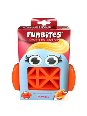 FUNBITES Bite Size Triangles Mini Food Cutter Set, Orange Jackie