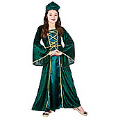 Medieval / Tudor Princess Girls Childrens Fancy Dress Costume Dress & Headpiece - Green