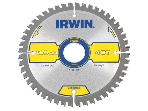 Irwin Multi Material Circular Saw Blade 165 x 30mm x 48T TCG/Neg