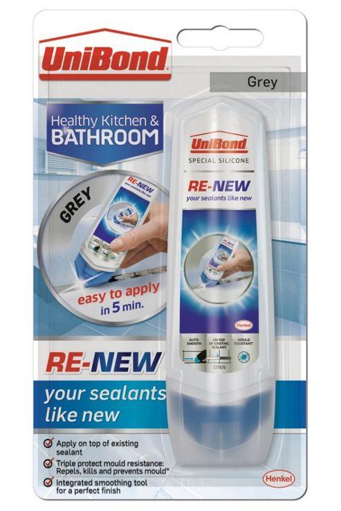 UniBond ReNew Silicon Sealant - Anti Mould Rejuvenate Kitchen & Bathroom - Grey