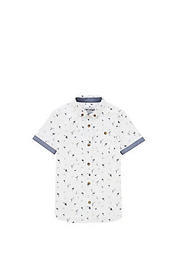 F&F Flamingo Print Short Sleeve Shirt - White & Blue