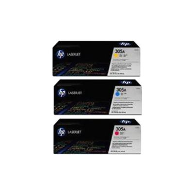 HP 305A Multipack Smart Print Cartridges (1 x Cyan/1 x Yellow/1 x Magenta) for LaserJet Pro 300, 300mfp, 400, 400mfp