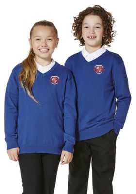 Unisex Embroidered V-Neck Cotton School Jumper with As New Technology 11-12 years Royal blue