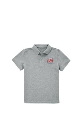Embroidered School Polo Shirt 7-8 years Grey