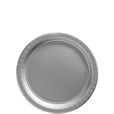 Silver Dessert Plates - 17cm Paper Party Plates, Pack of 8