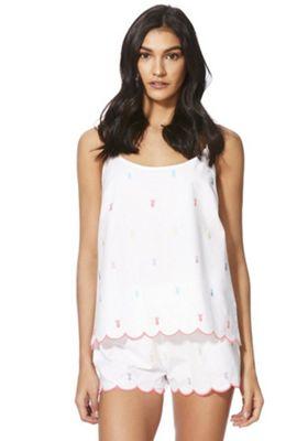 F&F Pineapple Embroidered Cami and Shorts Pyjama Set White Multi 12-14