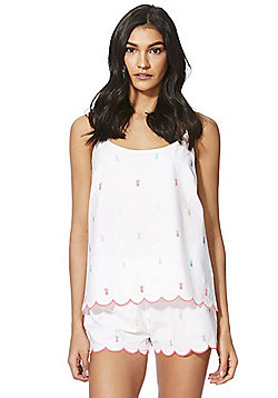 F&F Pineapple Embroidered Cami and Shorts Pyjama Set - White Multi