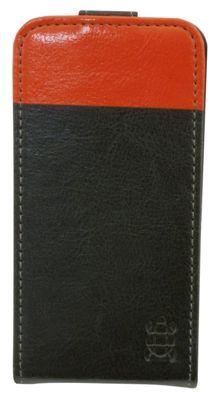 Tortoise™ Look Faux Leather Flip Case iPhone 4/4S Black/Orange