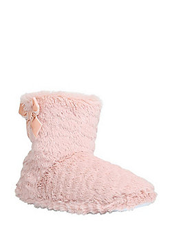 F&F Faux Fur Bootie Slippers - Pink