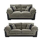Kendal 3 Seater + 2.5 Seater Jumbo Cord Sofa Set, Dark Grey