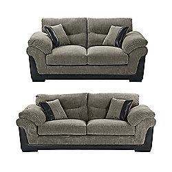 Kendal 3 Seater 25 Jumbo Cord Sofa Set Dark Grey