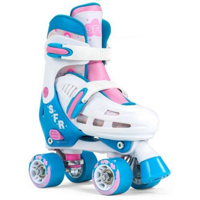 SFR Storm III White/Pink Adjustable Quad Roller Skates JNR 8-11 (Small)