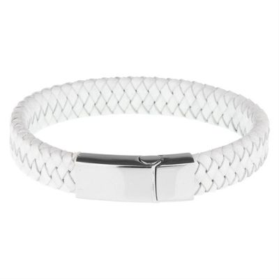 Urban Male Berlin Smart White Plaited Leather Men's Bracelet With Feature Stainless Steel Clasp