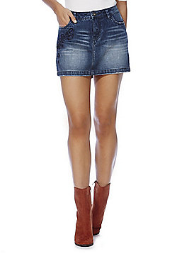 Only Embroidered Denim Mini Skirt - Mid wash