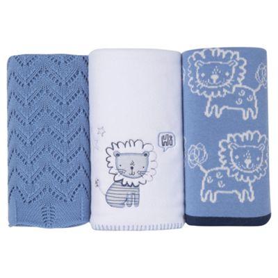 Silver Cloud Blue Blanket Set Lion