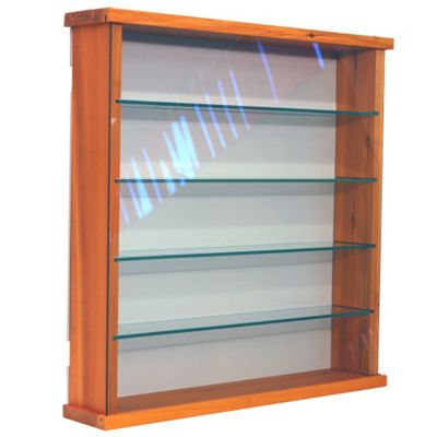 Techstyle 4 Shelf Solid Wood and Glass Wall Display Unit