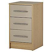 Lindon Gloss 3 Drawer Bedside Oak Grey