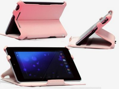 Navitech Pink Multi Stand Hard Faux Leather Case For The Asus Google Nexus 7 Inch