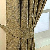 Homescapes Gold Jacquard Tie Back Pair Floral Damask Design